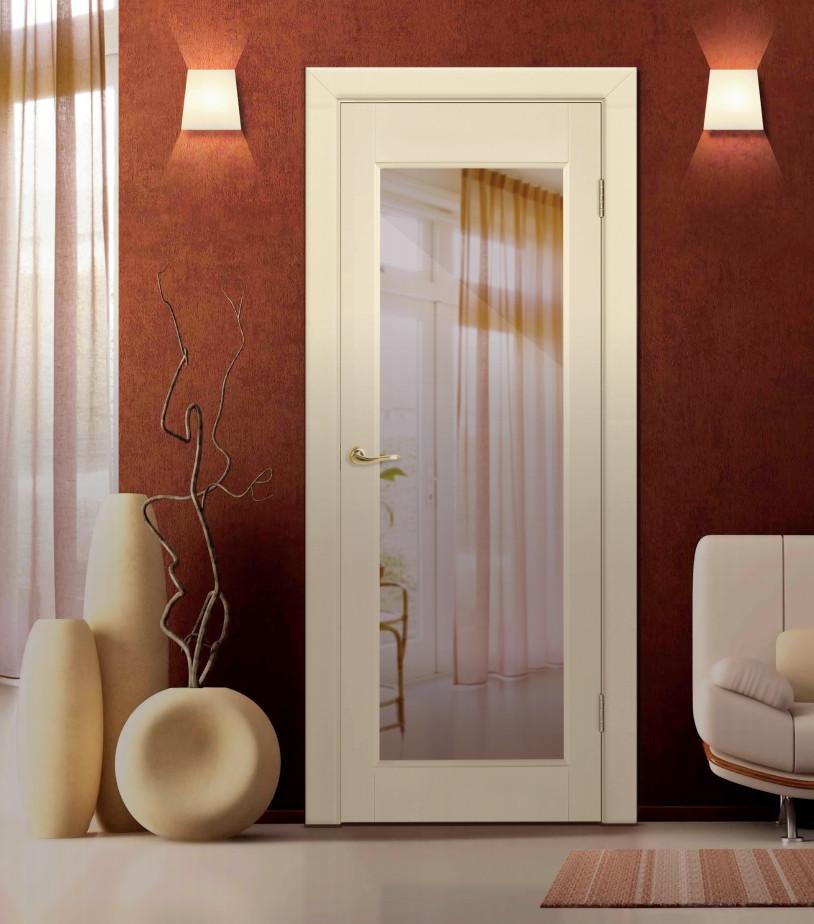 Дверь Варна ДО 3.0 в цвете Слоновая кость эмаль укрывная с остеклением Триплекс зеркальный
